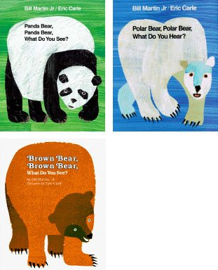 3 Book Set By Bill Martin Jr; Panda Bear, Panda Bear, What Do You See?; Polar Bear, Polar Bear, What Do You Hear?; Brown Bear, Brown Bear, What Do You See?.