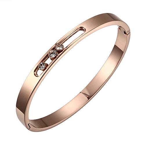Jewelry Inspired Cartier (Designer Inspired Titanium Steel Luxury Love Bracelet with Sliding Swarovski Crystals (Rose Gold))
