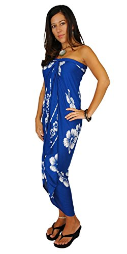 1 World Sarongs Womens Hibiscus Flower Cover-Up Sarong Blue/White FRINGELESS