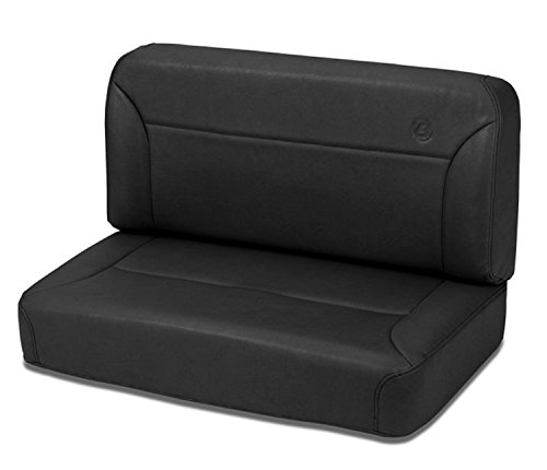 Bestop 39437-15 TrailMax II Black Denim All-Vinyl Fixed Rear Bench Seat for 1955-1995 CJ5, CJ7 and Wrangler YJ
