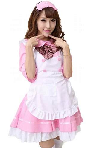 POJ Maid Costume Dress of Japan [ L Size Blue / Pink for Women with Apron ] Cosplay (L, Pink) (Female Marvel Characters Costumes)