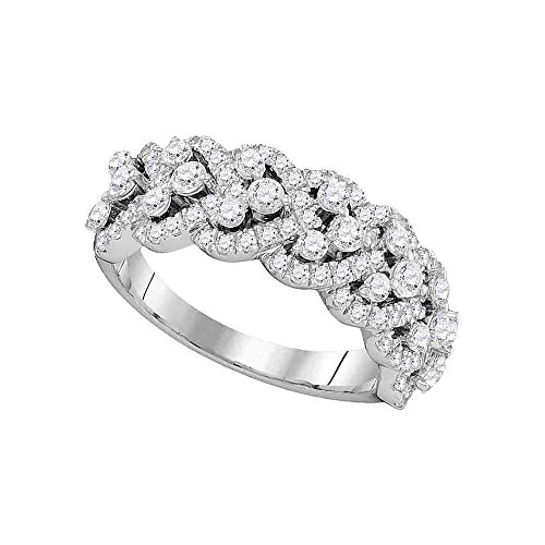 Heart Diamond Cocktail Ring Solid 14k White Gold Cocktail Band Round Cluster Fashion Style 1-1/3 (Diamond Cluster Cocktail Ring)
