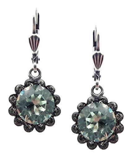 Catherine Popesco Light Green & Dark Grey Swarovski Crystal Flower Silvertone Earrings