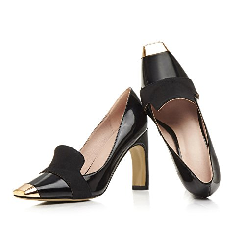 Shoes Heels on Slip Pumps Women Square Black toe Platform High AIWEIYi Dress qvOxww