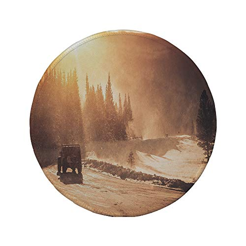 Non-Slip Rubber Round Mouse Pad,Winter,Colorado Mountain Road and The Winter Storm with High Wind ICY Road and Vehicle,7.87