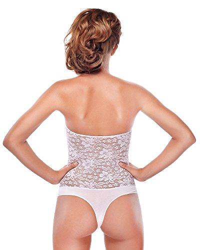 Funky Garden Mujer String Body con punta sin tirantes micromodal blanco