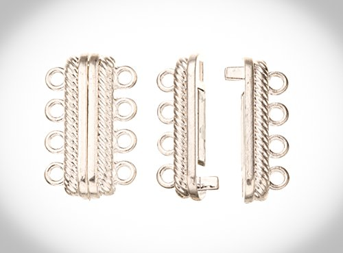 4-Strand Magnetic Multi-Strand Clasp Silver Plated Copper 23x14mm (Pack of 4 Sets)