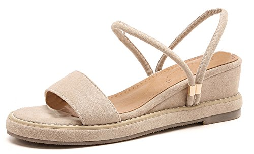 Aisun Women's Open Toe Wedge Slide Sandals - Middle Heel Slip On - Comfort with Ankle Strap (Apricot, 8 B(M) US) by Aisun