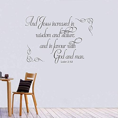 Wall Stickers Art Decor Decals Jesus Increased in Wisdom and Stature and in Favor with God and Man Christian God Scripture Bible Verse