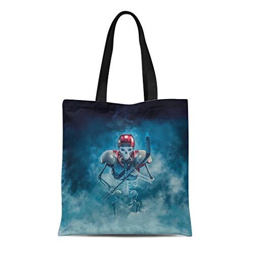 Semtomn Cotton Canvas Tote Bag the Phantom Hockey Player 3D of Scary Skeleton Ice Reusable Shoulder Grocery Shopping Bags Handbag -