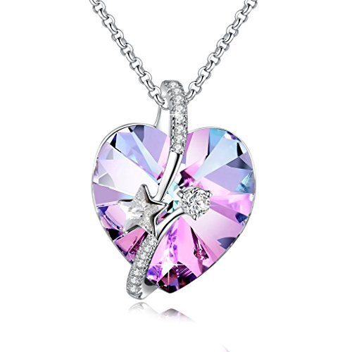 Purple Crystal Pendant - Shooting Star with Engraved Bermuda Blue Heart Purple Heart Pendant Necklace Austria Crystal Jewelry for Women by Richapex (Purple)