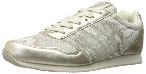 K-Swiss Women's New Haven Snake CMF Fashion Sneaker, Gold/Off White, 8.5 M US