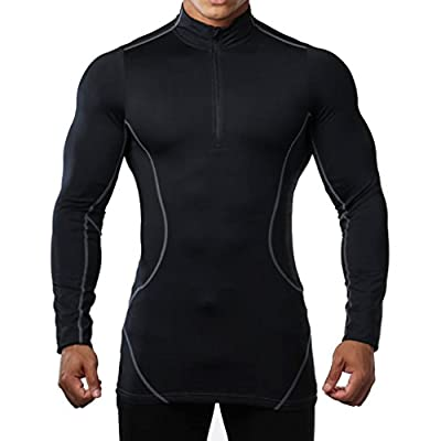 BROKIG Mens Long Sleeve Athletic Compression Shirt Running Baselayer Tops