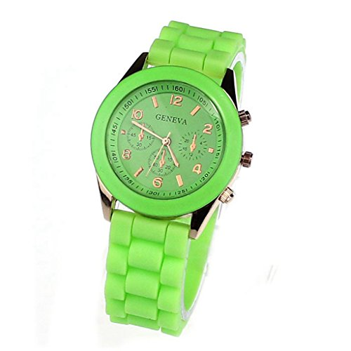 Unisex Silicone Sports Quartz Watches Green - 8