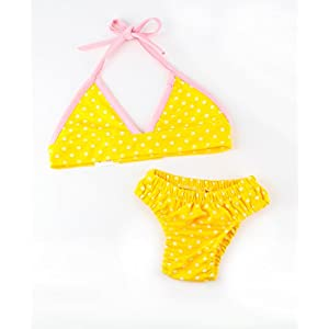 Yellow Polka Dot Dog Bikini by Midlee (Medium)