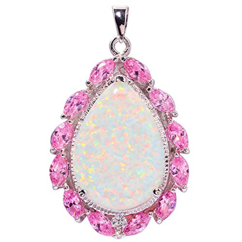 Huge White Fire Opal Pink Topaz Silver Women Jewelry Gemstone Pendant 2 OD5819 -
