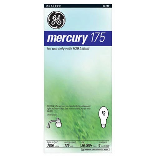 GE Lighting 26440 175-Watt High Intensity Mercury ED28 Street Light Mogul Light Bulb, - 175w Mercury Vapor