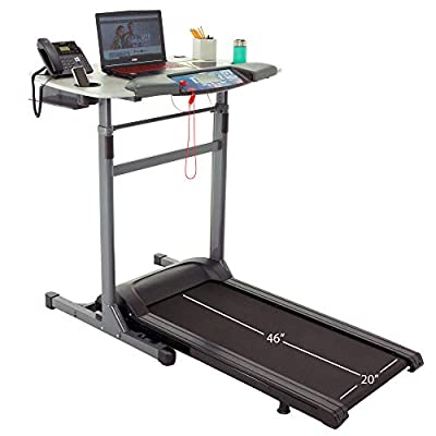 "Exerpeutic 5000 ExerWork 20"" Wide Belt Desk Treadmill with Adjustable Desktop Height, 325 lbs Capacity"