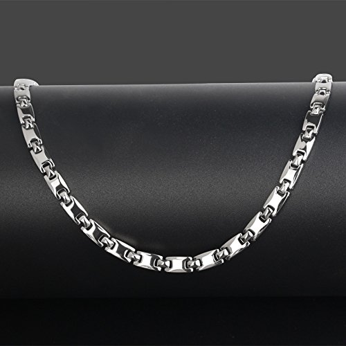 Men's Silver Pure Titanium Magnetic Therapy Link Chain Necklace for Neck Arthritis Headaches Pain (Titanium Plated Necklace)