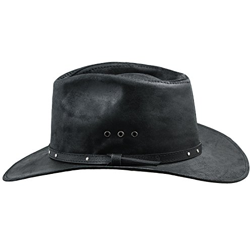 Sterkowski Cattle Leather Classic Western Cowboy Outback Hat US 7 3/8 Black