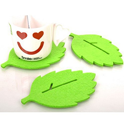 Lucrative shop 3PCS/Lot leaf-shaped Tea Cup Coaster Heat Insulation Felt Mat Table Decor