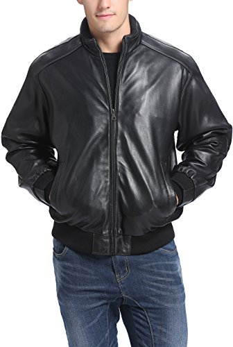 BGSD Men's Lambskin Leather Bomber Jacket - XLT by BGSD
