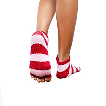 Toezies The Original 1/2 Toe Sock for Yoga/Pilates Holiday Stripe (Small / Medium)