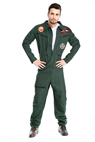PINSE Mens US Navy Flight Suit Costume Wingman (United States Halloween Costumes)
