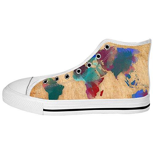 Custom Weltkarte Mens Canvas shoes Schuhe Lace-up High-top Sneakers Segeltuchschuhe Leinwand-Schuh-Turnschuhe D