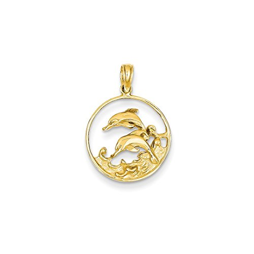 ICE CARATS 14kt Yellow Gold Double Dolphin Circle Pendant Charm Necklace Sea Life Whale Fine Jewelry Ideal Gifts For Women Gift Set From Heart 14kt Gold Double Dolphin Charm