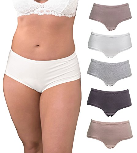 Emprella Underwear Women Plus Size, 5-Pack Hipster Panties, Cotton and Spandex