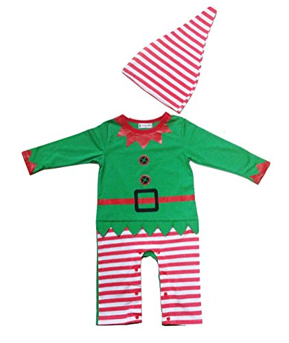 [Swaroser Santa's Lil' Elf Costume Unisex-baby Christmas Suits Leotard Santa Hat Jumpsuit Climbing Clothes Rompers Pant Sets Size] (Infant Santa Costumes)