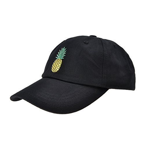 ZLYC Pineapple Embroidered Cotton Baseball Cap Adjustable Strapback Hat for Mens Womens, Black
