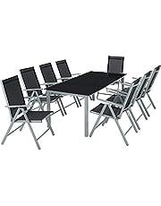 TecTake Aluminio conjunto muebles para jardin 8+1 silla adjustable mesa cristal terraza - disponible en diferentes colores -