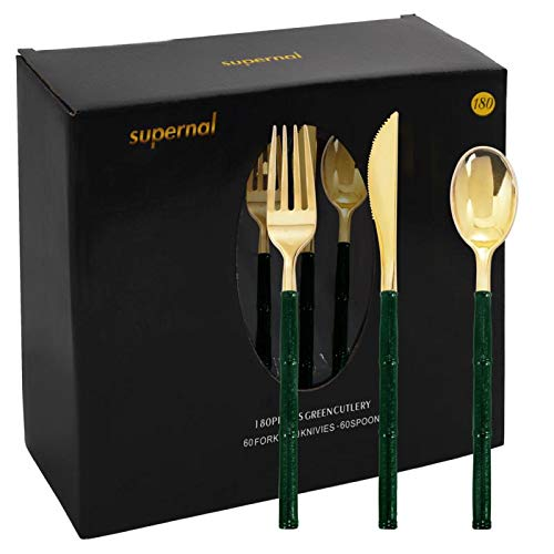 180 Pieces Gold Plastic Cutlery,Durable Plastic Gold Silverware with Green Glitter Bamboo Handle, Disposable Gold…