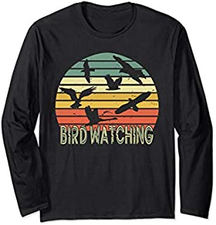 Bird Watching Birding Vintage Retro  Bird Watcher gift Long Sleeve T-shirt | Size S - 5XL