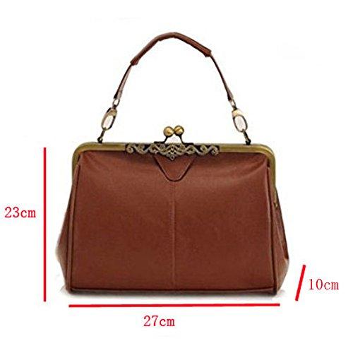 J Imitation Satchel Lock Minimalist Abuyall Kiss Leather Women Shoulder Totes Handnbag Bag Retro Bag Purse Handbag Vintage ZZwYxCSaq