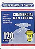 Business Bags Commercial Trash Can Liners 33 Gal. 0.51mil Clear 120 Bags