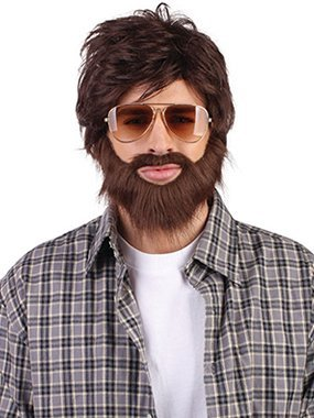 Brown Hangover Wig & Beard -