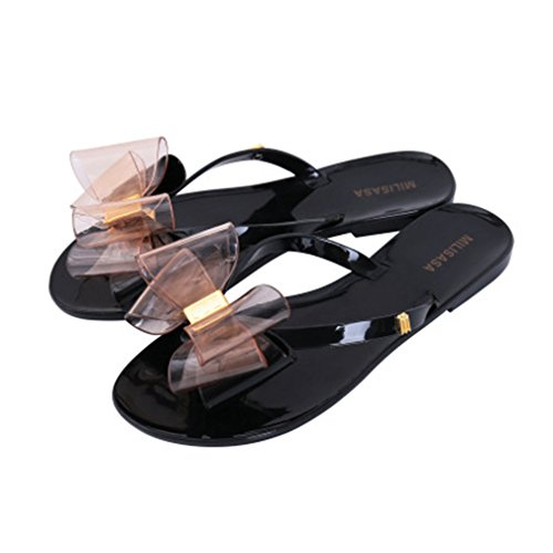 GIY Women's Fashion Bow Flip Flop Jelly Sandals Summer Beach