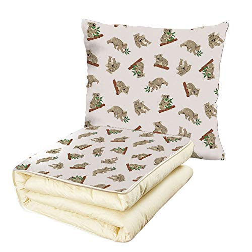 iPrint Quilt Dual-Use Pillow Tropical Animals Koala Pattern Design Mammals of Nature Nursery Australian Animals Baby Multifunctional Air-Conditioning Quilt Grey White by iPrint