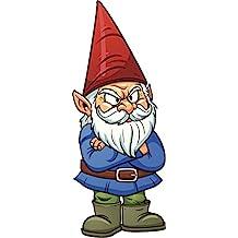 "Angry Grumpy Garden Gnome Cartoon Vinyl Decal Sticker (4"" Tall)"