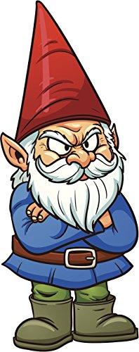 Angry Grumpy Garden Gnome Cartoon Vinyl Decal Sticker (4