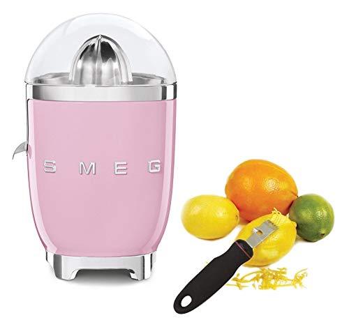 Smeg CJF01PBUS Powder Coated Vintage Style Citrus Juicer Bundle with Norpro 113 Grip-Ez Zester/Stripper - Pink