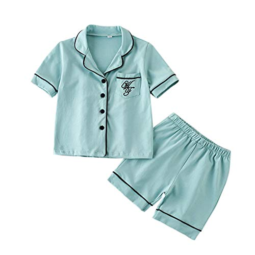 JWWN Toddler Boys Pajamas Short Set Baby Button Up Sleepwear, Little Kids Sleep Shirt & Shorts 2Pcs PJ Set(Blue,6Years) ()