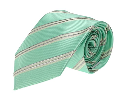 Mens Regular Necktie Green Mint Pearl Ivory Diagonal Stripe Fashion (Olive Pinstripe Suit)