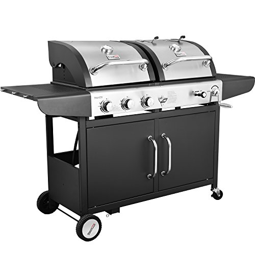 Royal Gourmet 3-Burner Cabinet Gas Grill and Charcoal Grill Combo, Black (Gas Charcoal Smoker Grill)
