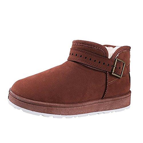for Nubuck tacón planas botas casual Black negra botas puntera Mid Calf mujer Nieve Zapatos caqui invierno de botas Cuero redonda de marrón del de qUwvIO4