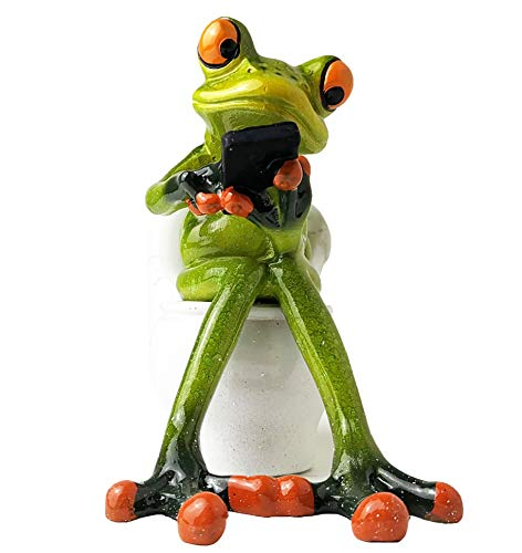 Decoration For Toilet (HAPTIME 4.3 inch Adorable Red Eyed Tree Frog Sitting on Toilet and Texting, Funny Decor Figurine for Home Desk Bathroom)