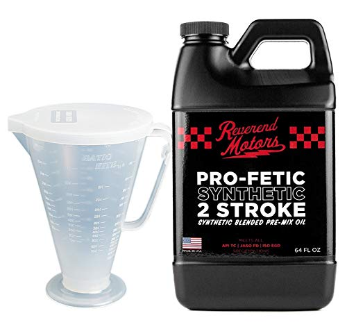 2 Stroke Oil - 64 oz With Ratio Rite Measuring Cup for 2 Stroke oil Mix - Synthetic Premix Racing Blend - Revered Motors (64 Ounces W/Cup)
